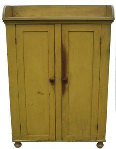 19th century Pennsylvania Storage with original yellow paint