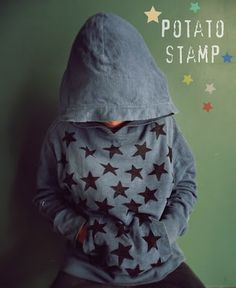 How to redesign clothes with potato stamps- easy-peasy tutorial, such a lovely idea!