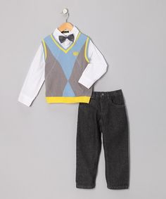 Take a look at this Light Blue & Yellow Argyle Vest Set - Infant, Toddler & Boys by College Boyys on #zulily today!