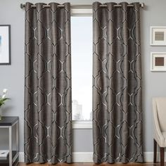 Shop for Softline Trenton Grommet Top Curtain Panel. Get free delivery On EVERYTHING* Overstock - Your Online Home Decor Outlet Store! Get in rewards with Club O! Cute Curtains, Long Curtains, Grey Curtains, Rod Pocket Curtains, Window Curtains, Grommet Curtains, Valances, Bay Window, 108 Inch Curtains