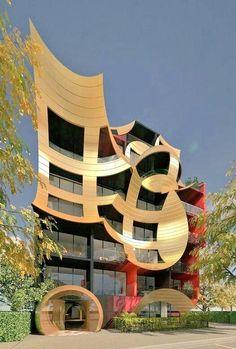 'Orbis' by Ashton Raggatt McDougal (ARM Architecture); Orbis is a luxury apartment building in South Melbourne, Victoria, Australia. Arm Architecture, Futuristic Architecture, Beautiful Architecture, Contemporary Architecture, Architecture Details, Japanese Architecture, Unusual Buildings, Interesting Buildings, Amazing Buildings