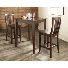 Crosley Furniture 3 Piece Pub Dining Set with Tapered Leg and School House Stools in Vintage Mahogany Finish (3 Piece Pub Dining Set with Tapered Leg and Stools), Brown