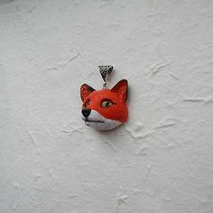 #Fox head pendant I made of polymer clay, waxed cord. The diameter of the pendant is 3 cm.   May be insignificant difference,but I promise you that this will be done qualita... #polymerclay #animaltotem #jewelryanimals #fox