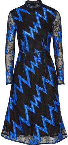 Christopher Kane Satin-Appliquéd Embellished Lace Dress