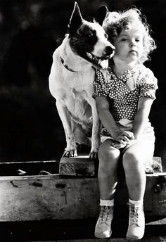 Shirley Temple and her dog Buster, 1933