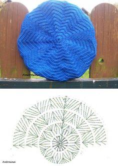 Crochet Beret - Chart by TamidP Crochet Beret Pattern, Crochet Hat Tutorial, Crochet Cap, Crochet Motif, Crochet Stitches, Free Crochet, Knitting Patterns, Crochet Patterns, Crochet Ideas