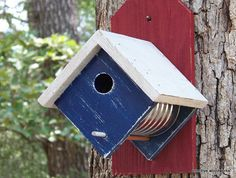 Coffee Can Birdhouse, Bird House, Rustic Birdhouse, Recycled Weathered Rough Cedar - Painted Red White Blue