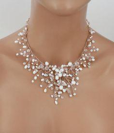 Bridal necklace Pearl necklace Wedding jewelry set Swarovski