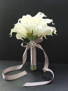 Brautjungfer Sträuße Elfenbein Calla Lily von LoveMimosaFleur