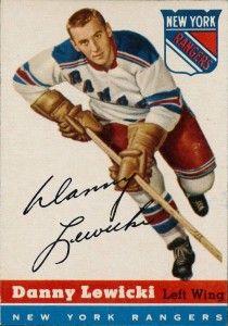 Danny Lewicki - New York Rangers. 1954-55 Topps hockey card.
