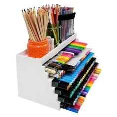 Our XL Pen & Ink Palace is the perfect desktop ink pad storage solution. Great for all types of ink pads, pens, markers and more. Art Supplies Storage, Craft Room Storage, Craft Organization, Craft Supplies, Craft Rooms, Ink Pad Storage, Marker Storage, Ribbon Storage, Ideas Para Organizar