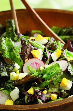 Oak leaf and baby romaine lettuces are so tender they're best eaten straight from the garden or at least within a day or two of picking. Mild and delicate, they pair wonderfully with peppery radishes and chopped hard-boiled eggs in this easy salad. #salads #saladrecipes #healthysalads #saladideas #healthyrecipes