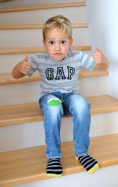 Térdlyuk evő szörnyek - Masni / Easy kneehole monster DIY for used kid jeans