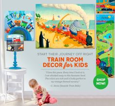Train Room Decor for Kids from Oopsy Daisy - Shop now and get FREE Shipping on orders over $98 - Limited Time Only!