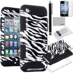 Pandamimi ULAK(TM) 3-Piece Defender Hybrid High Impact Rubber Case Cover Zebra Pattern with Inner Soft Black Silicone Shell for Apple iPod Touch Generation 4 + Screen Protector + Stylus (Black / Zebra Skin) by ULAK, http://www.amazon.com/dp/B00D7VI7ZY/ref=cm_sw_r_pi_dp_6Pqvsb1PVERHS