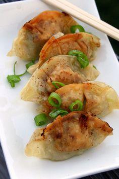 Gyoza Pan-Fried Dumplings (Napa Cabbage, Pork, Scallions, Shiitake, Chives, Ginger, Garlic, Sesame Oil, Sake, Soy Sauce)