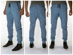 Medium Blue Drop Crotch Jogger pants Made in USA with drawstring twill denim #neoblue #joggersdropcrotch