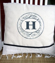 No sew pillow covers - monogram for front entry bench