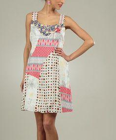 Another great find on #zulily! Pink & Brown Geometric Patchwork Sleeveless Dress #zulilyfinds