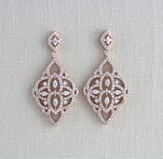 Rose Gold Bridal earrings Wedding jewelry Wedding by treasures570