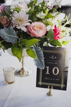 Industrial Meets Floral in New York | Brooklyn, NY | deco inspired table numbers with a compote centerpiece