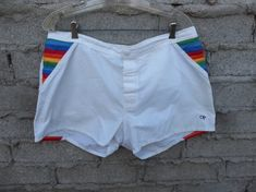 41c5e6b9ad82a Vintage OP Shorts Iconic Rainbow 1970s 80s California Skater Surfer Unisex  Adult Clothing Bay Watch Charlie's Angels Era Swim Trunks Rare