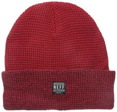 Neff Headwear Ridge Beanie Knit Cap with Logo Patch Forever Fun Maroon #Neff #Beanie