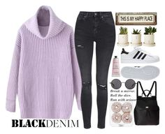 """""""In my imagination you're waiting lying on your side"""" by azra-rnr ❤ liked on Polyvore featuring Topshop, Dolce&Gabbana, The Row, adidas, Therapy, Poncho & Goldstein and blackdenim"""