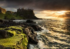 Dunluce Light  Dunluce Castle at Sunset on the North Antrim Coast in N Ireland