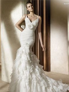 Gorgeous Spaghetti Straps Deep V-neck Flower Pleated Ruffled Chiffon Wedding Dress WD2202 www.tidedresses.co.uk $339.0000