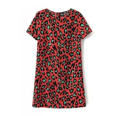 LUCLUC Red Leopard cotton scoop short sleeve dress ($23) ❤ liked on Polyvore