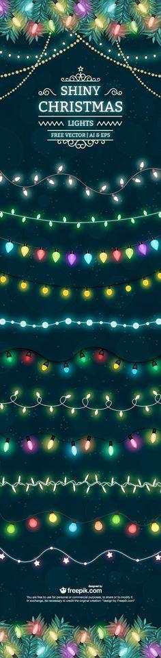 Shiny Christmas lights free vector set