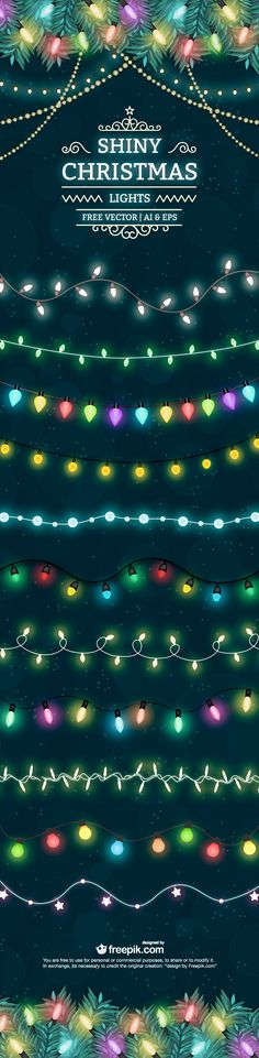Shiny Christmas light free vector set