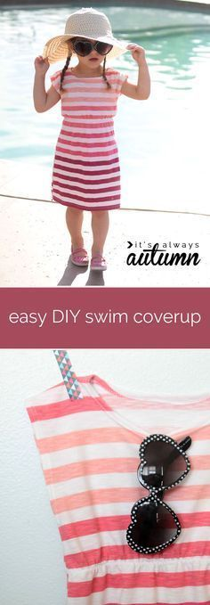 Learn how to sew an adorable swim cover or summer dress for a little girl from a woman's shirt. Easy sewing tutorial. #sp