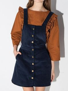 Shop Navy Button Up Detail A-line Pinafore Dress from choies.com .Free shipping Worldwide.$34.9