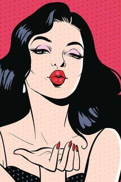 Woman blowing kiss pop art.