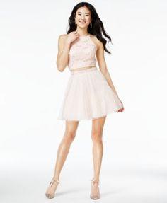 Speechless Juniors' 2-Pc. Glitter A-Line Dress | macys.com