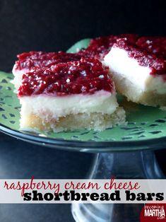 Raspberry Cream Cheese Shortbread Bars - Becoming Martha
