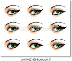 From the Egyptian double liner to the open wings and Panda smudge, it's time to up your makeup game with some seriously fierce eyeliner war paint. How To Do Eyeliner, Simple Eyeliner, Perfect Eyeliner, Apply Eyeliner, Eyeliner Shapes, Eye Shapes, Pencil Eyeliner, Eyeliner Perfecto, Piercings