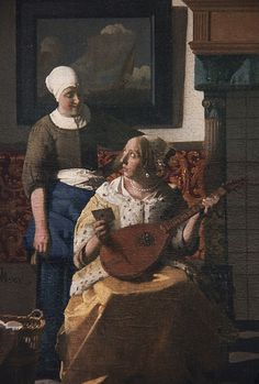 Lady holding a cittern, detail from The Letter, oil painting by Johannes Vermeer, Johannes Vermeer, Delft, Dutch Artists, Famous Artists, Rembrandt, Vermeer Paintings, Renaissance Kunst, Dutch Golden Age, Dutch Painters