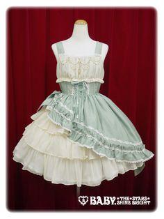 Gathered chiffon jumper skirt, Light green x ivory | #AliceAndThePirates #AatP #BabyTheStarsShineBright