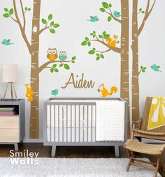 Birch Trees Nursery Wall Decal Forest Animals Kids Personalized Wall Decal Owsl Squirrels Birds Baby Room Art Decor