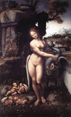 Leda and the Swan - Leda was seduced by Zeus in the guise of a swan; the same night Leda laid with her husband, Tyndareus, wiith the result of two eggs, which hatched Helen of Troy, Clytemnestra and the Dioscuri, Castor and Pollux (with Elena and Pollux being immortal and the other two mortal, even if the tradition is not consisten) ° Artwork by Leonardo da Vinci ° Galleria degli Uffizi, Florence, Italy
