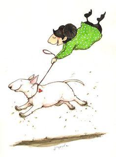 """#Bull #Terrier Art. """"Joy Ride"""" by Lisa Krutrut"""