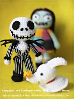 "For this upcoming Halloween… Rabbiz presents ""Amigurumi Nightmare Before Christmas""!!! (Jack Skellington, Sally, and Zero) See more on www.rabbizdesign.com"
