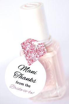 Nail Polish Favor Tags, Thank You Favors, Shower Favor Tags, Bridal Wedding Shower Favor Tags, Diamond Ring Tags, Bachelorette Party Tags - Nail Polish Favor Tags Thank You Favors by PinkFoxPapercrafts