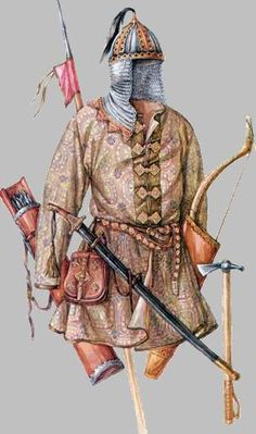 Kipchak, clothing and equipment of a light cavalryman. Once conquered by the Mongols, the Kipchaks would have provided troops to the Golden Horde.