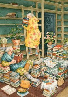 Groothandel inge look Postkaarten van Inge Look number 66 Old Lady Humor, Reading Art, Jolie Photo, Children's Book Illustration, Whimsical Art, I Love Books, Old Women, Book Worms, Illustrators