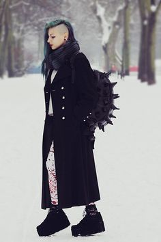 Alissa Verj - Frontrowshop Street Fashion Pu Spiky Hedgehog Shape Backpack, Black Milk Clothing Bloodsplatter Catsuit, Missguided Platform Boots, From My Mom Long Coat - One more time | LOOKBOOK