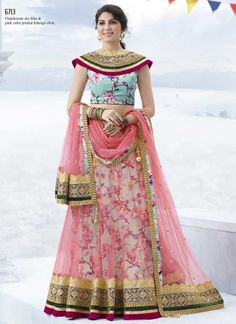 Pink Turquoise Embroidery Work Printed Bhagalpuri Silk Net Lehenga Choli http://www.angelnx.com/bestseller